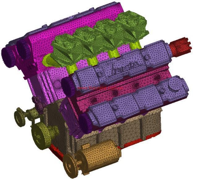 Ansa和meta在汽车或动力系统行业应用广泛,主要的优势有: • 专有的Translator工具,支持多种主流三维软件,可完整继承CAD模型的模型树、零部件属性等信息 • 多种网格算法,可用于NVH、强度疲劳、CFD等多种类型网格 • 装配简单易操作,装配连接形式丰富多样,焊接、螺栓、胶接、接触或绑定等 • 法兰边装配网格可选择兼容性网格以及可用的Gasket单元 • 模型自动更新功能,螺栓等连接单元、边界条件、载荷加载区域等都可以自动更新 •